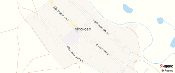 Школьная улица на карте деревни Москово с номерами домов