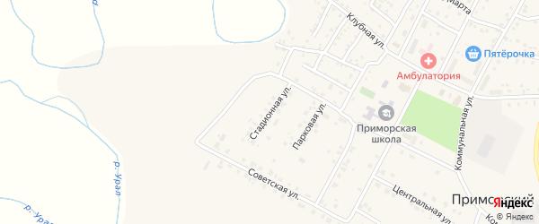 Стадионная улица на карте Приморского поселка с номерами домов