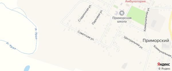 Советская улица на карте Приморского поселка с номерами домов