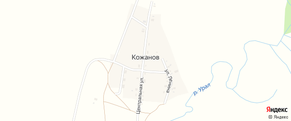 Улица Горняков Магнитки на карте поселка Кожанова с номерами домов