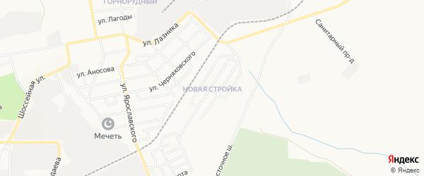 Карта поселка Новой Стройки города Магнитогорска в Челябинской области с улицами и номерами домов
