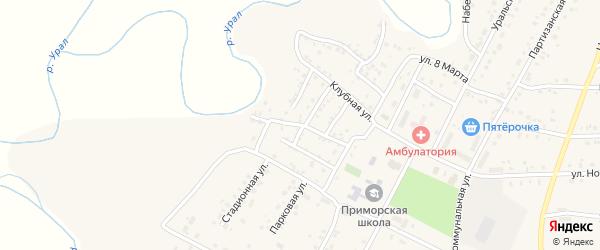 Комсомольская улица на карте Приморского поселка с номерами домов