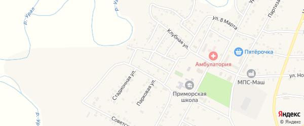 Школьная улица на карте Приморского поселка с номерами домов
