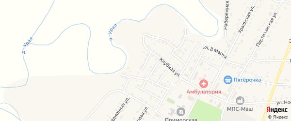 Клубный 3-й переулок на карте Приморского поселка с номерами домов