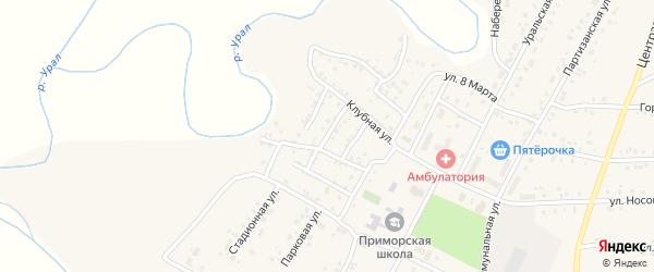 Клубный 2-й переулок на карте Приморского поселка с номерами домов