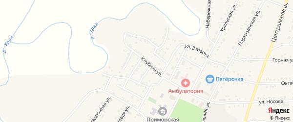 Спортивная улица на карте Приморского поселка с номерами домов