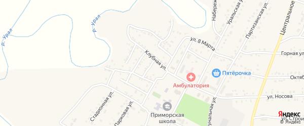 Клубный 1-й переулок на карте Приморского поселка с номерами домов