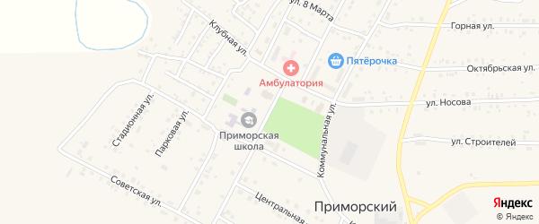 Клубная улица на карте Приморского поселка с номерами домов