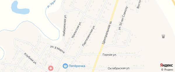 Партизанская улица на карте Приморского поселка с номерами домов