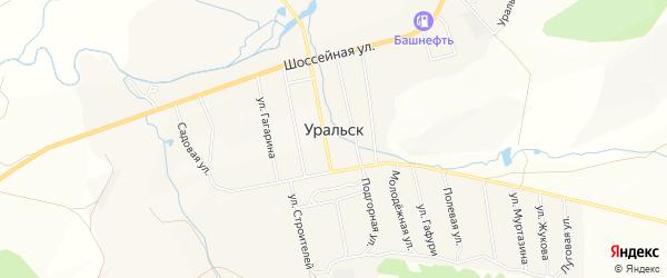 Карта села Уральска в Башкортостане с улицами и номерами домов