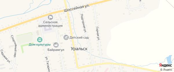 Подгорная улица на карте села Уральска с номерами домов