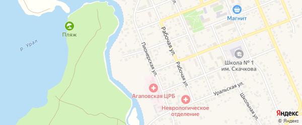 Пионерская улица на карте села Агаповки с номерами домов
