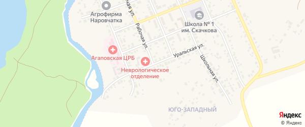 Уральская улица на карте села Агаповки с номерами домов