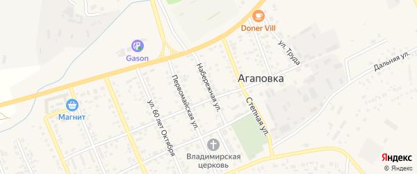 Набережная улица на карте села Агаповки с номерами домов