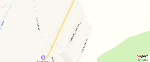Байрамгуловская улица на карте села Уральска с номерами домов