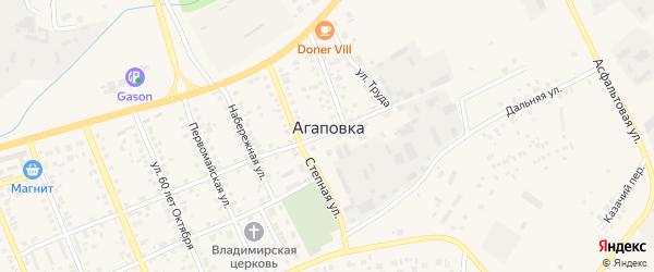 Тепличный микрорайон на карте села Агаповки с номерами домов