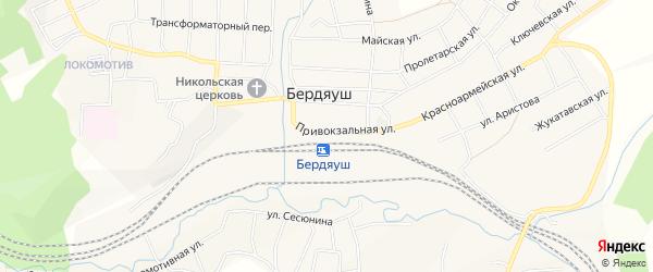 Карта поселка Бердяуш в Челябинской области с улицами и номерами домов