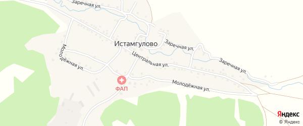Центральная улица на карте деревни Истамгулово с номерами домов