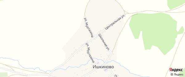 Улица Муртазина на карте деревни Ишкиново с номерами домов