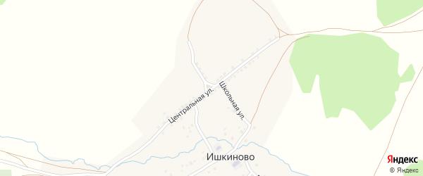 Центральная улица на карте деревни Ишкиново с номерами домов