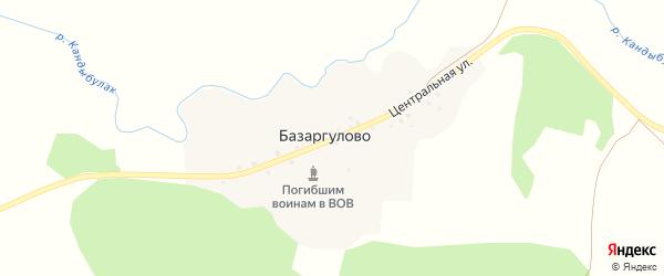 Центральный переулок на карте деревни Базаргулово с номерами домов