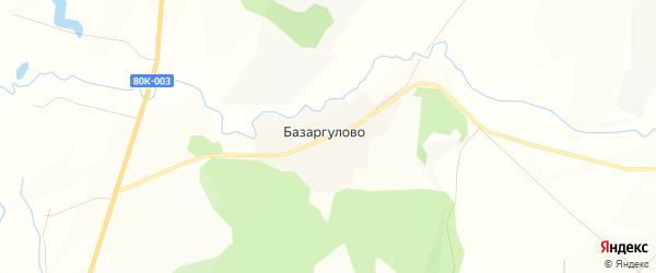 Карта деревни Базаргулово в Башкортостане с улицами и номерами домов