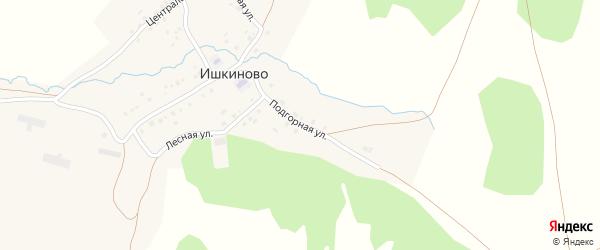 Подгорная улица на карте деревни Ишкиново с номерами домов
