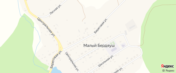 Береговая улица на карте поселка Малого Бердяуша с номерами домов