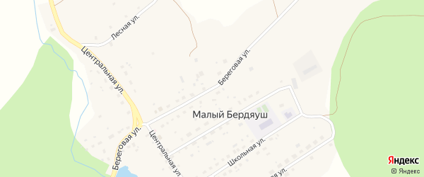 Береговая улица на карте поселка Бердяуш с номерами домов