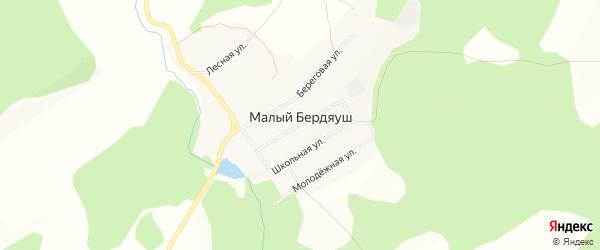 Карта поселка Малого Бердяуша в Челябинской области с улицами и номерами домов