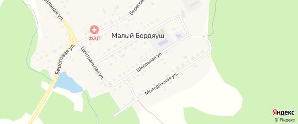 Школьная улица на карте поселка Малого Бердяуша с номерами домов