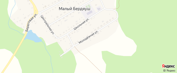 Молодежная улица на карте поселка Малого Бердяуша с номерами домов