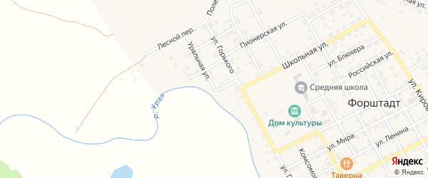 Уральная улица на карте села Форштадта с номерами домов