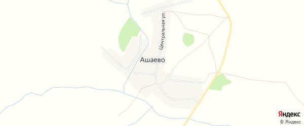 Карта деревни Ашаево в Башкортостане с улицами и номерами домов
