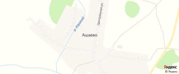 Центральная улица на карте деревни Ашаево с номерами домов