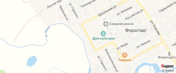 Улица Горького на карте села Форштадта с номерами домов
