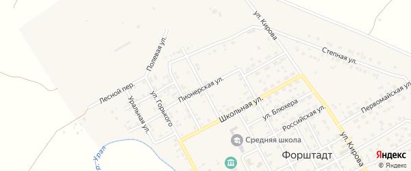 Пионерская улица на карте села Форштадта с номерами домов