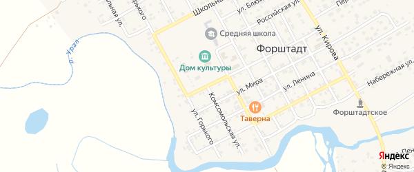 Комсомольская улица на карте села Форштадта с номерами домов