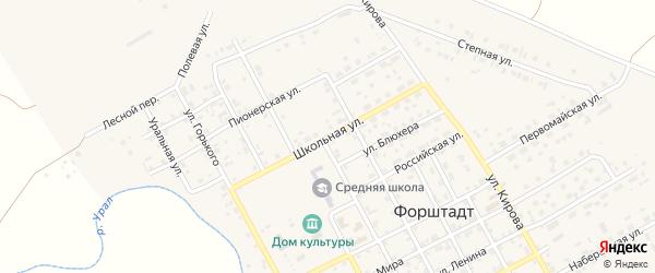 Школьная улица на карте села Форштадта с номерами домов