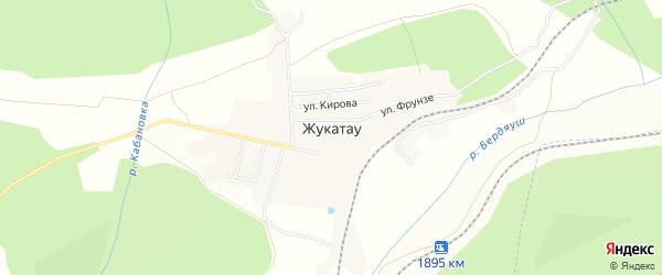 Карта поселка Жукатау в Челябинской области с улицами и номерами домов