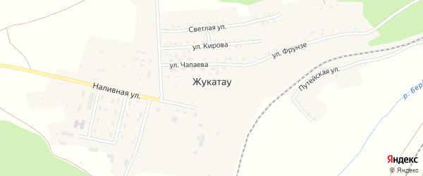 Светлая улица на карте поселка Жукатау с номерами домов