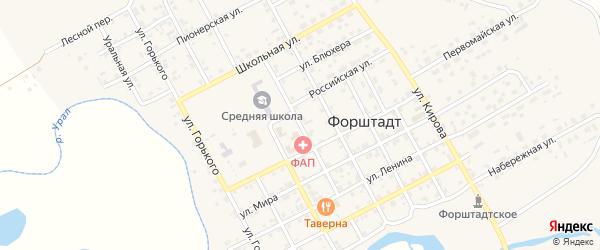 Октябрьская улица на карте села Форштадта с номерами домов