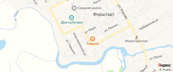 Советская улица на карте села Форштадта с номерами домов