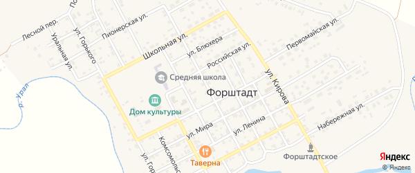 Улица 8 Марта на карте села Форштадта с номерами домов