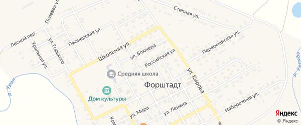 Российская улица на карте села Форштадта с номерами домов