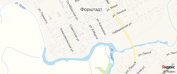 Улица Братьев Кашириных на карте села Форштадта с номерами домов