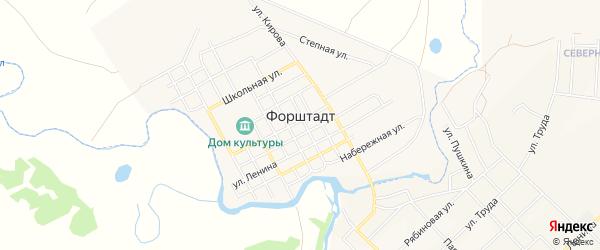 Карта села Форштадта в Челябинской области с улицами и номерами домов
