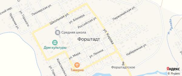 Первомайская улица на карте села Форштадта с номерами домов