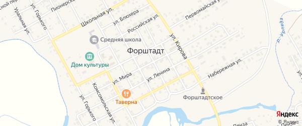 Улица Мира на карте села Форштадта с номерами домов
