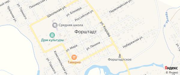 Улица Калинина на карте села Форштадта с номерами домов